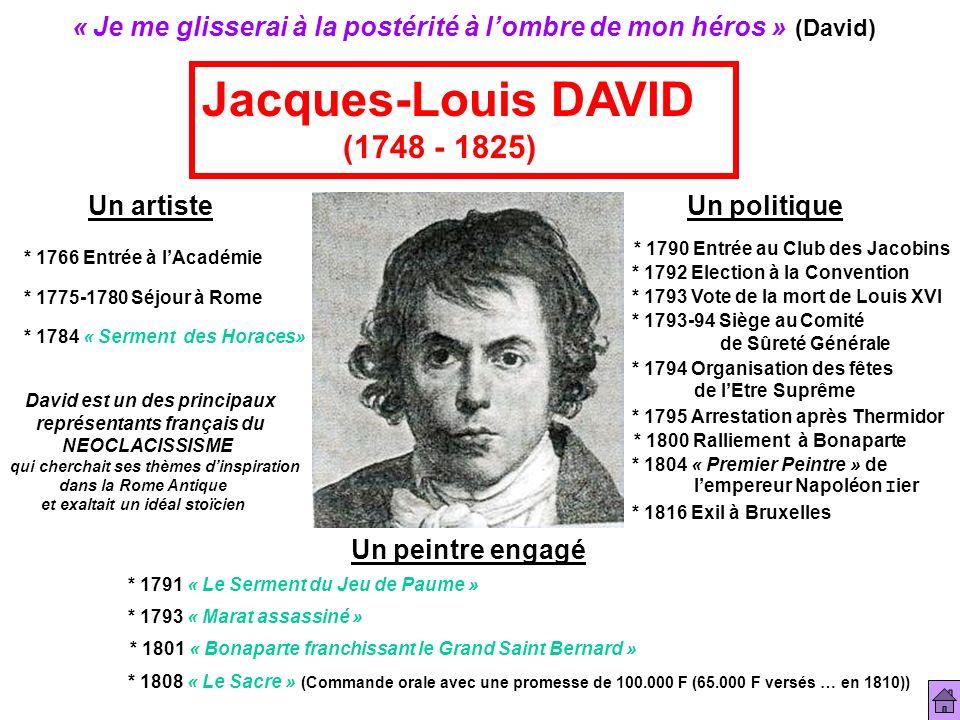 « Je me glisserai à la postérité à lombre de mon héros » (David) Jacques-Louis DAVID (1748 - 1825) Un artiste Un politique Un peintre engagé * 1766 En
