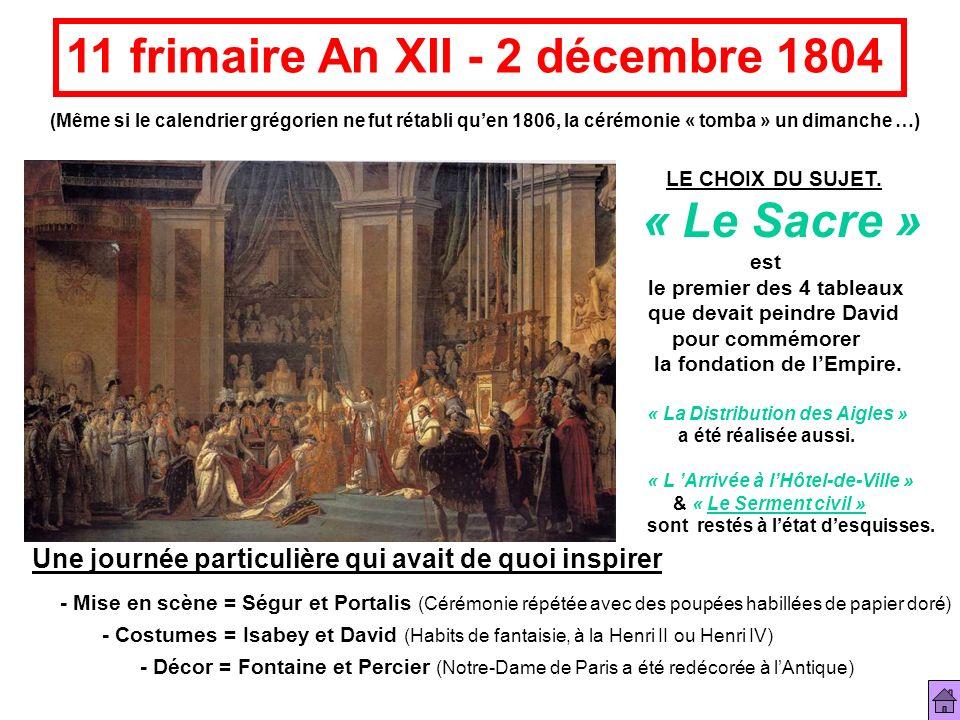 11 frimaire An XII - 2 décembre 1804 (Même si le calendrier grégorien ne fut rétabli quen 1806, la cérémonie « tomba » un dimanche …) - Mise en scène