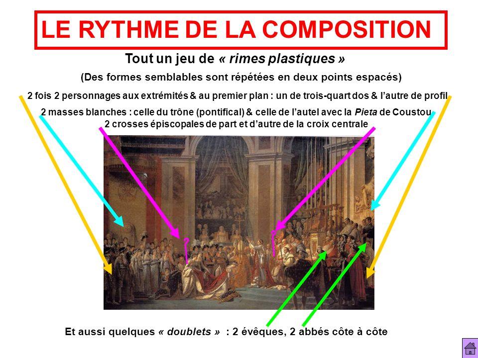 LE RYTHME DE LA COMPOSITION Tout un jeu de « rimes plastiques » (Des formes semblables sont répétées en deux points espacés) 2 fois 2 personnages aux