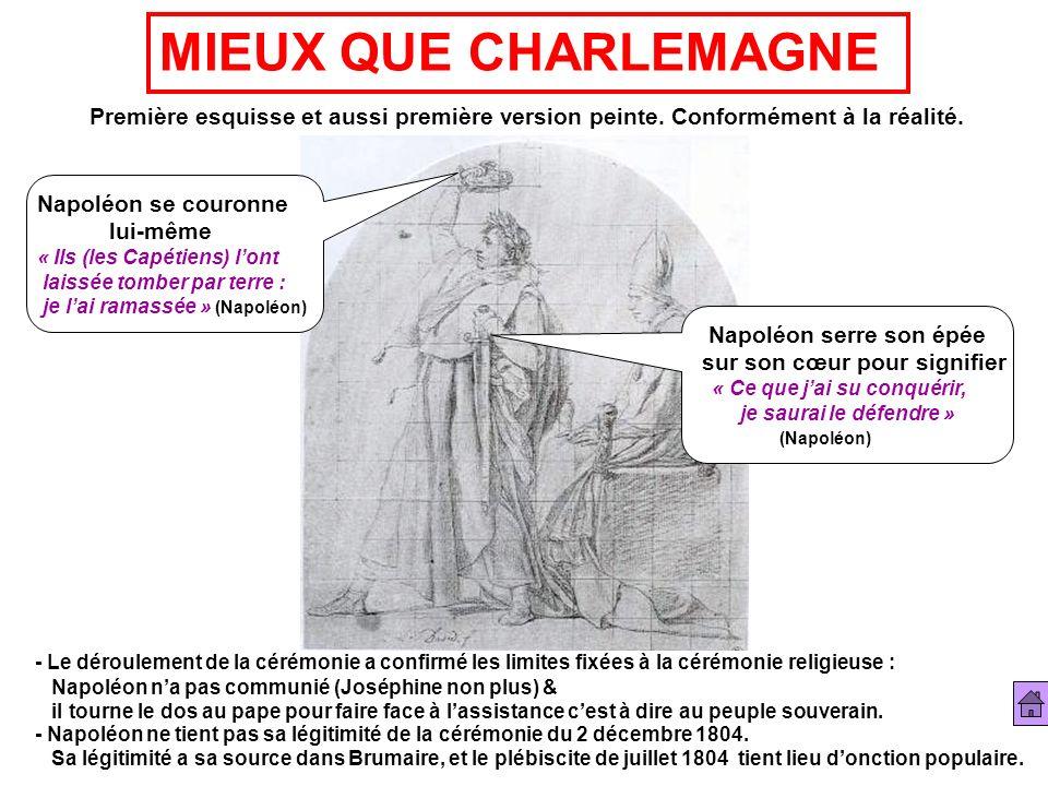 MIEUX QUE CHARLEMAGNE Première esquisse et aussi première version peinte. Conformément à la réalité. Napoléon se couronne lui-même « Ils (les Capétien