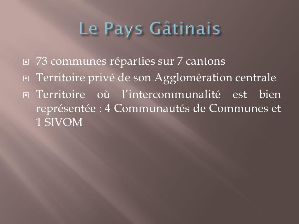 73 communes réparties sur 7 cantons Territoire privé de son Agglomération centrale Territoire où lintercommunalité est bien représentée : 4 Communautés de Communes et 1 SIVOM