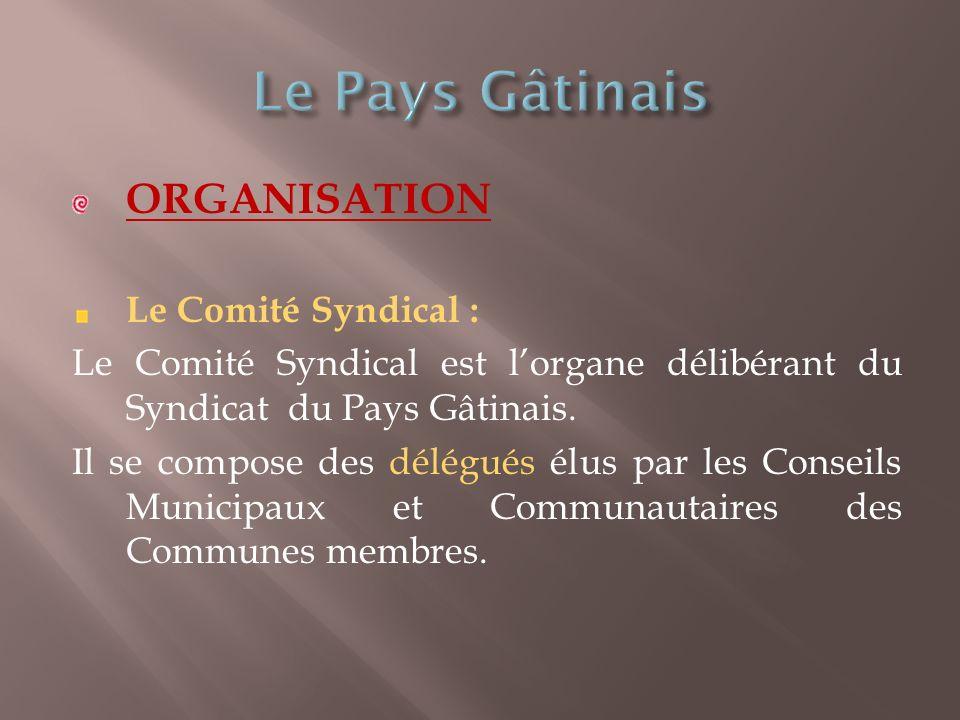 ORGANISATION Le Comité Syndical : Le Comité Syndical est lorgane délibérant du Syndicat du Pays Gâtinais.