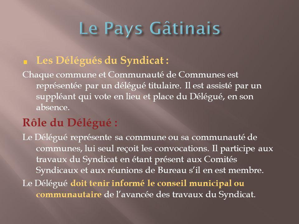 Les Délégués du Syndicat : Chaque commune et Communauté de Communes est représentée par un délégué titulaire.