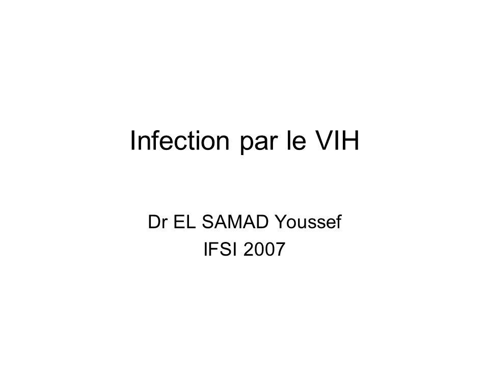 Définition/généralités Le SIDA (Syndrome d Immuno-Déficience Acquise), décrit en 1981,correspond à un déficit immunitaire chronique induit par le virus VIH (Virus de l Immunodéficience Humaine), en anglais HIV (Human Immunodeficiency Virus), découvert en 1983 Linfection virale est longtemps silencieuse (asymptomatique) Linfection est transmise par les relations sexuelles, le sang, et de la mère à lenfant in utero Les anti-rétroviraux sont efficaces sur le VIH, et permettent déviter le SIDA-maladie, et de restaurer limmunité, mais peuvent être mis en échec par les résistances développées par le virus