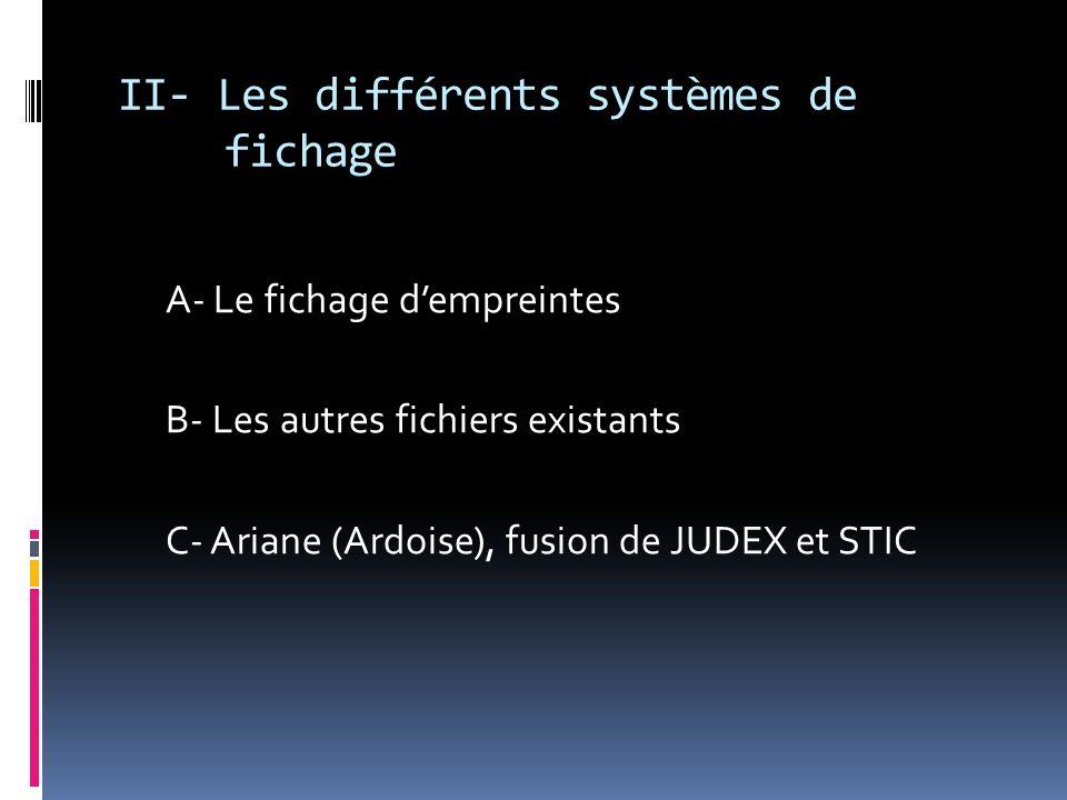 II- Les différents systèmes de fichage A- Le fichage dempreintes B- Les autres fichiers existants C- Ariane (Ardoise), fusion de JUDEX et STIC