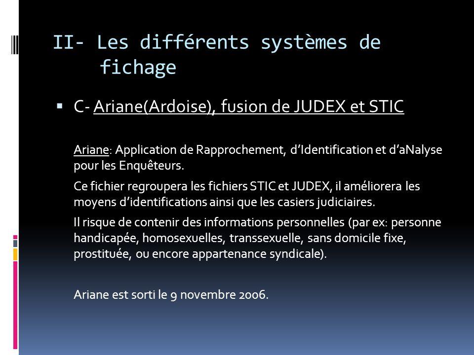 II- Les différents systèmes de fichage C- Ariane(Ardoise), fusion de JUDEX et STIC Ariane: Application de Rapprochement, dIdentification et daNalyse p