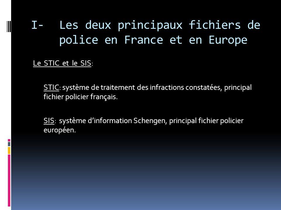 I- Les deux principaux fichiers de police en France et en Europe STICSIS Chiffres clés Au 1 er janvier 2006: -28.9 millions de procédures -32 millions dinfractions -4.5 millions dindividus mis en cause -22.5 millions de victimes -9.8 millions dobjets En juin 2003, le N-SIS contenait environ 9 millions de signalements, dont 1 300 000 concernant des personnes