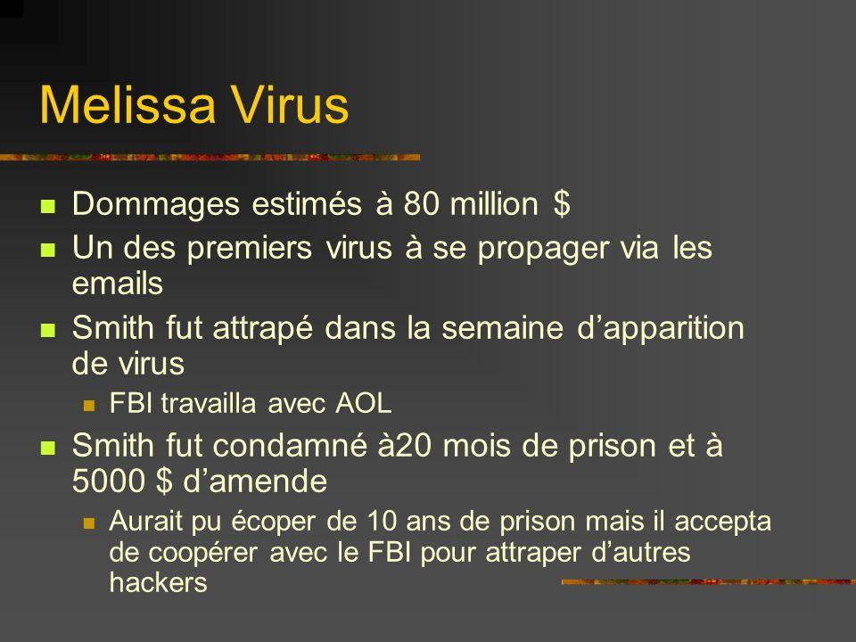 Dommages estimés à 80 million $ Un des premiers virus à se propager via les emails Smith fut attrapé dans la semaine dapparition de virus FBI travaill