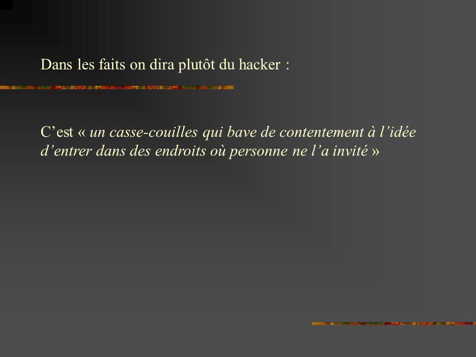 Cest « un casse-couilles qui bave de contentement à lidée dentrer dans des endroits où personne ne la invité » Dans les faits on dira plutôt du hacker :
