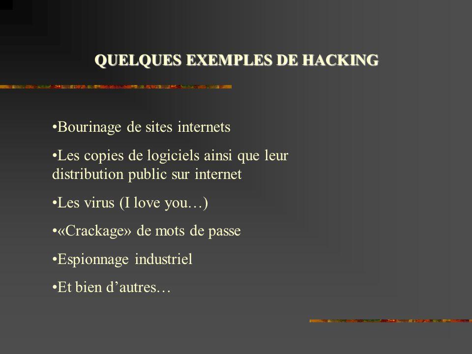 QUELQUES EXEMPLES DE HACKING Bourinage de sites internets Les copies de logiciels ainsi que leur distribution public sur internet Les virus (I love you…) «Crackage» de mots de passe Espionnage industriel Et bien dautres…