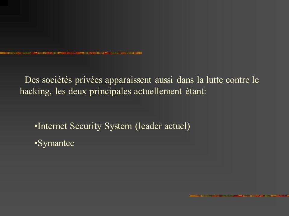Des sociétés privées apparaissent aussi dans la lutte contre le hacking, les deux principales actuellement étant: Internet Security System (leader actuel) Symantec