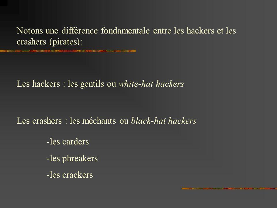 Notons une différence fondamentale entre les hackers et les crashers (pirates): Les hackers : les gentils ou white-hat hackers Les crashers : les méchants ou black-hat hackers -les carders -les phreakers -les crackers