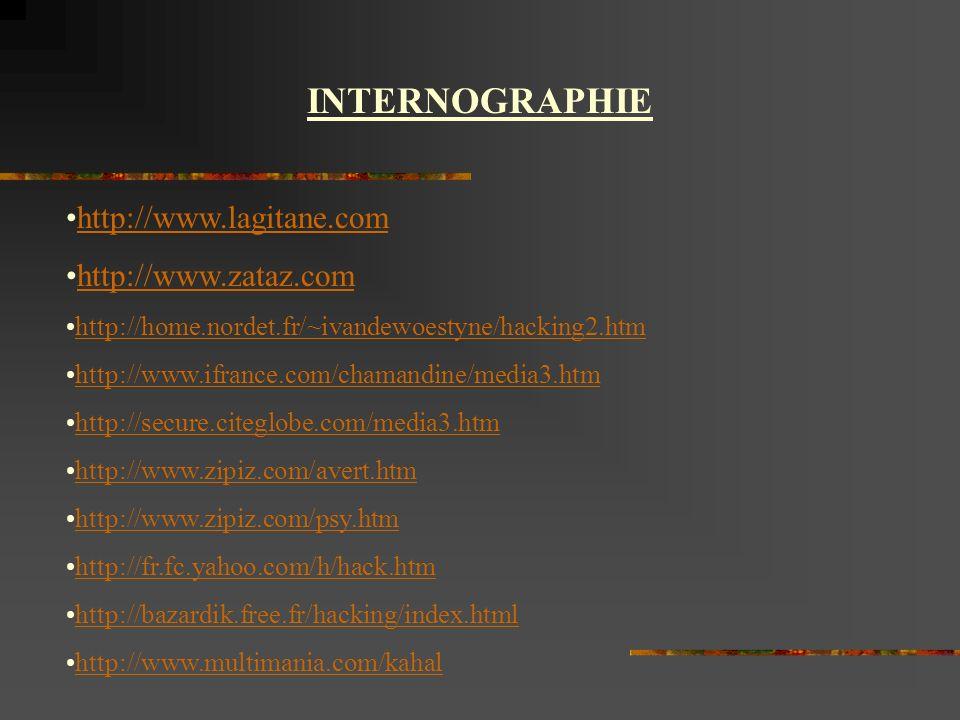 INTERNOGRAPHIE http://www.lagitane.com http://www.zataz.com http://home.nordet.fr/~ivandewoestyne/hacking2.htm http://www.ifrance.com/chamandine/media3.htm http://secure.citeglobe.com/media3.htm http://www.zipiz.com/avert.htm http://www.zipiz.com/psy.htm http://fr.fc.yahoo.com/h/hack.htm http://bazardik.free.fr/hacking/index.html http://www.multimania.com/kahal