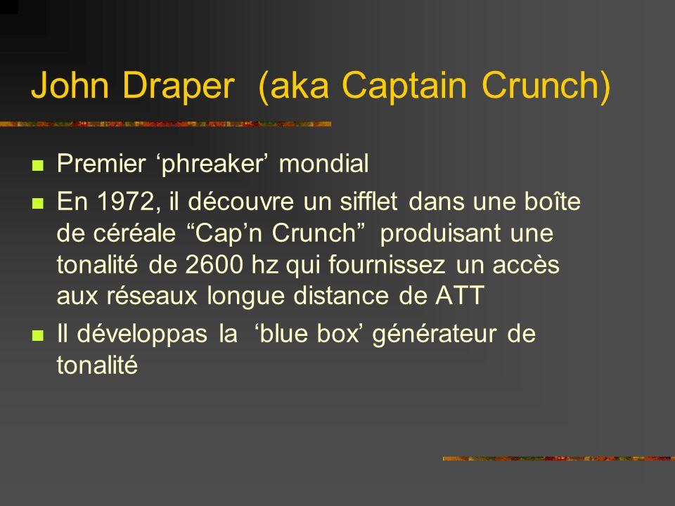 Premier phreaker mondial En 1972, il découvre un sifflet dans une boîte de céréale Capn Crunch produisant une tonalité de 2600 hz qui fournissez un accès aux réseaux longue distance de ATT Il développas la blue box générateur de tonalité