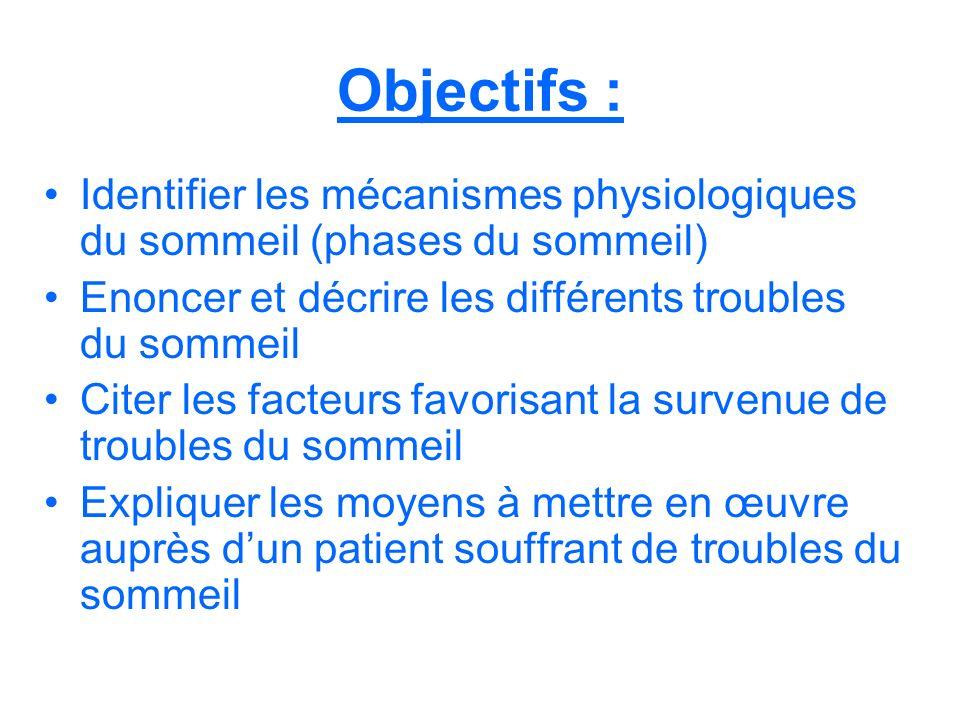 Objectifs : Identifier les mécanismes physiologiques du sommeil (phases du sommeil) Enoncer et décrire les différents troubles du sommeil Citer les fa