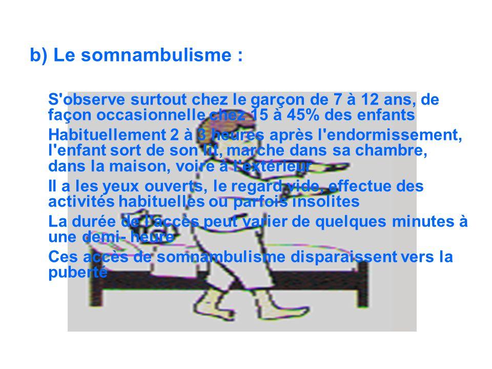 b) Le somnambulisme : S'observe surtout chez le garçon de 7 à 12 ans, de façon occasionnelle chez 15 à 45% des enfants Habituellement 2 à 3 heures apr