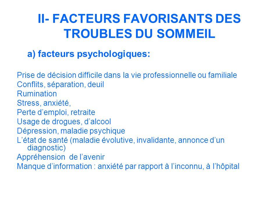 II- FACTEURS FAVORISANTS DES TROUBLES DU SOMMEIL a) facteurs psychologiques: Prise de décision difficile dans la vie professionnelle ou familiale Conf