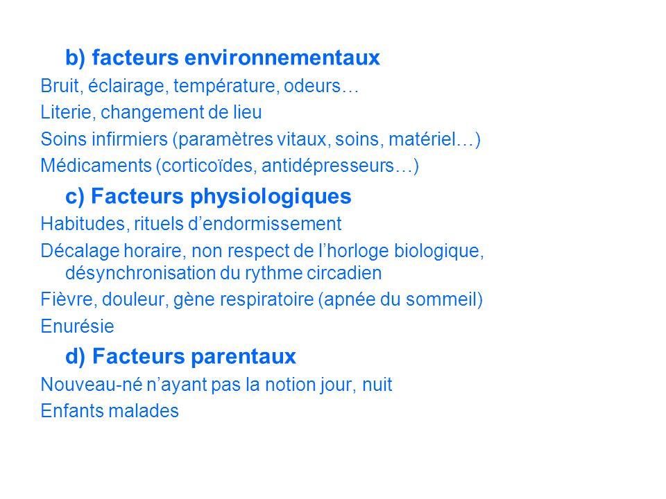 b) facteurs environnementaux Bruit, éclairage, température, odeurs… Literie, changement de lieu Soins infirmiers (paramètres vitaux, soins, matériel…)