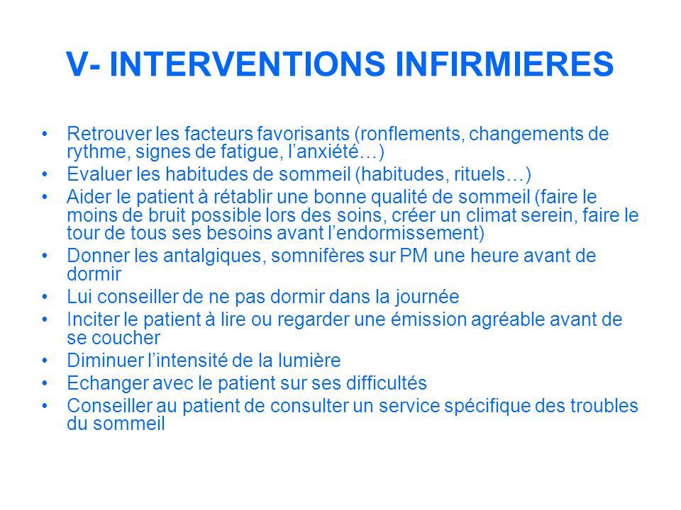 V- INTERVENTIONS INFIRMIERES Retrouver les facteurs favorisants (ronflements, changements de rythme, signes de fatigue, lanxiété…) Evaluer les habitud
