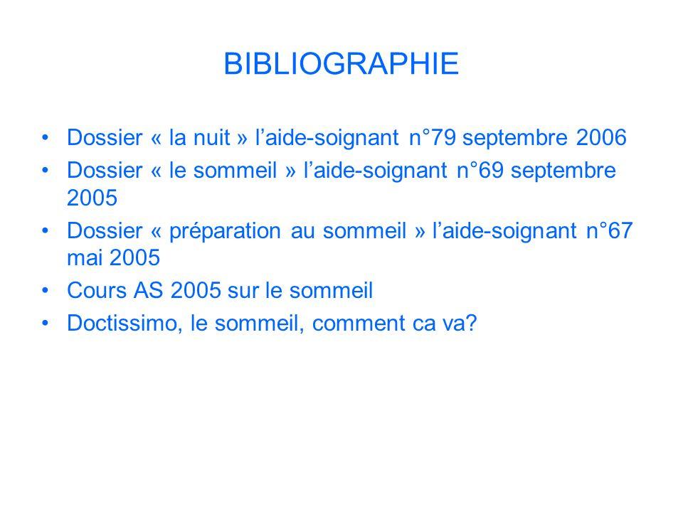 BIBLIOGRAPHIE Dossier « la nuit » laide-soignant n°79 septembre 2006 Dossier « le sommeil » laide-soignant n°69 septembre 2005 Dossier « préparation a
