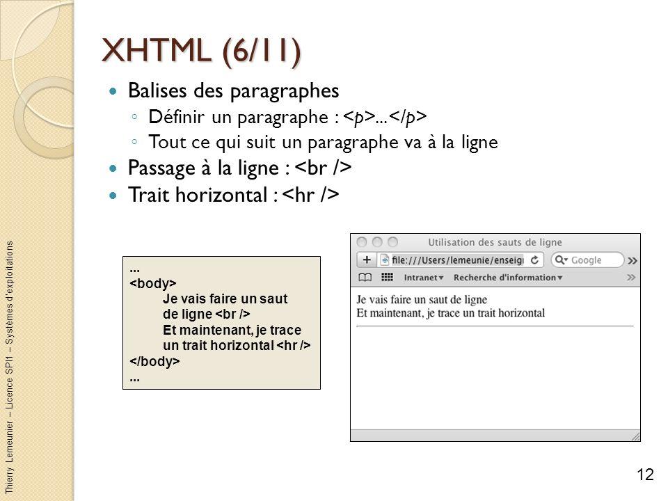 Thierry Lemeunier – Licence SPI1 – Systèmes dexploitations XHTML (6/11) Balises des paragraphes Définir un paragraphe :... Tout ce qui suit un paragra