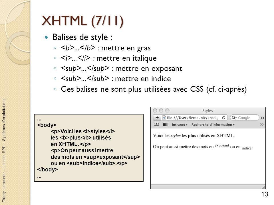 Thierry Lemeunier – Licence SPI1 – Systèmes dexploitations XHTML (7/11) Balises de style :... : mettre en gras... : mettre en italique... : mettre en