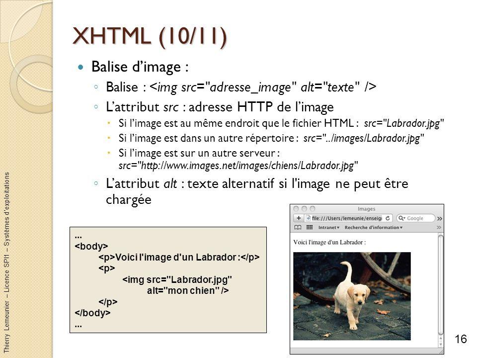 Thierry Lemeunier – Licence SPI1 – Systèmes dexploitations XHTML (10/11) Balise dimage : Balise : Lattribut src : adresse HTTP de limage Si limage est