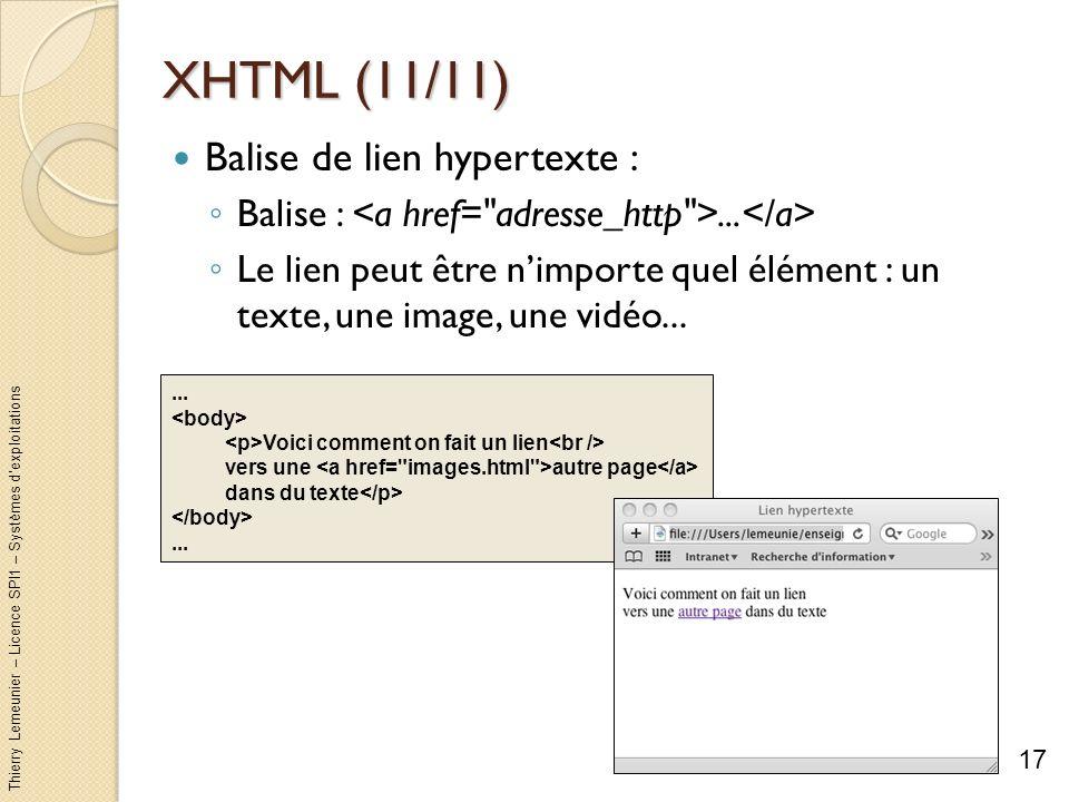 Thierry Lemeunier – Licence SPI1 – Systèmes dexploitations XHTML (11/11) Balise de lien hypertexte : Balise :... Le lien peut être nimporte quel éléme