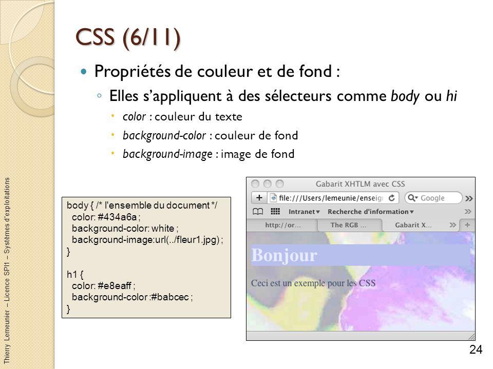 Thierry Lemeunier – Licence SPI1 – Systèmes dexploitations CSS (6/11) Propriétés de couleur et de fond : Elles sappliquent à des sélecteurs comme body