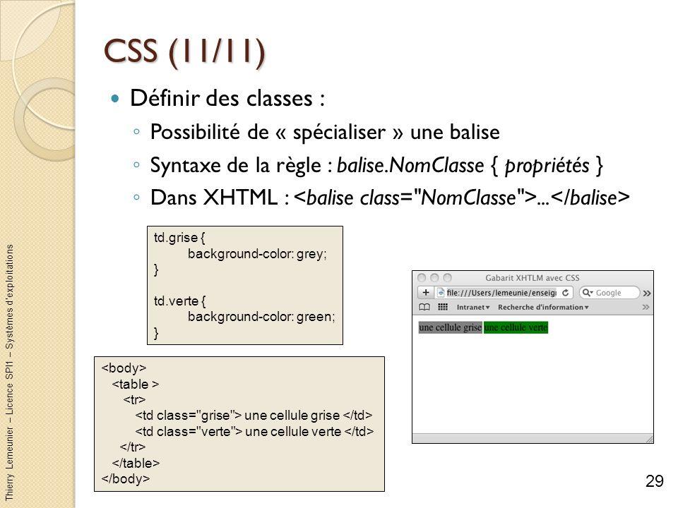 Thierry Lemeunier – Licence SPI1 – Systèmes dexploitations CSS (11/11) Définir des classes : Possibilité de « spécialiser » une balise Syntaxe de la r