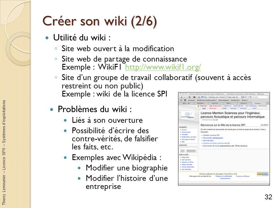 Thierry Lemeunier – Licence SPI1 – Systèmes dexploitations Créer son wiki (2/6) Utilité du wiki : Site web ouvert à la modification Site web de partag