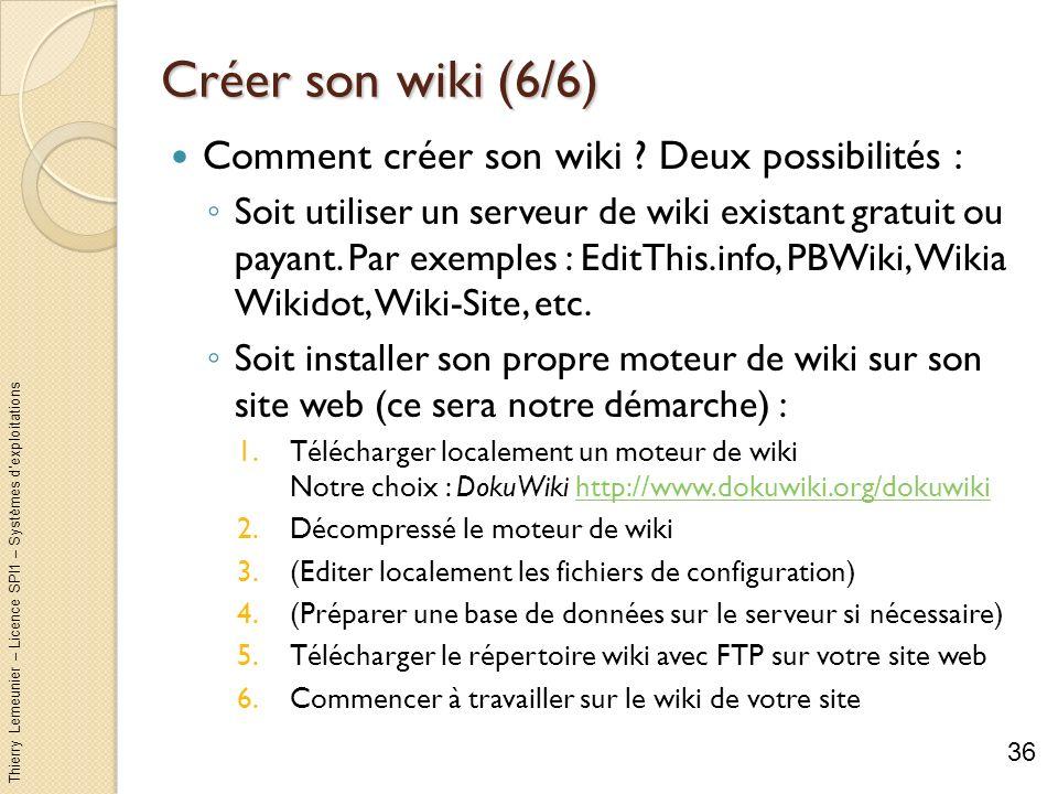 Thierry Lemeunier – Licence SPI1 – Systèmes dexploitations Créer son wiki (6/6) Comment créer son wiki ? Deux possibilités : Soit utiliser un serveur