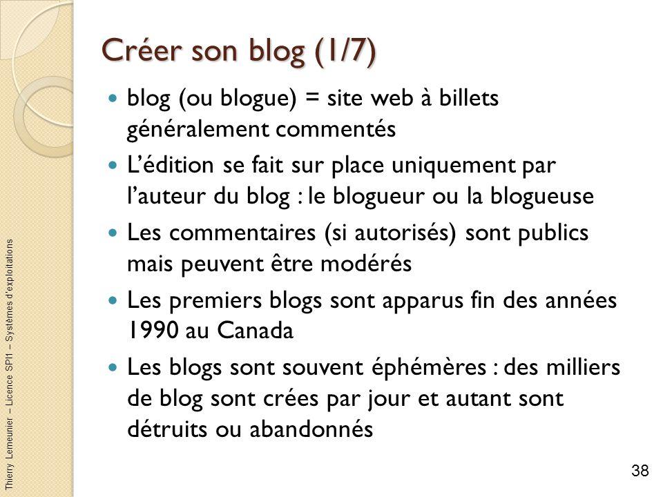 Thierry Lemeunier – Licence SPI1 – Systèmes dexploitations Créer son blog (1/7) blog (ou blogue) = site web à billets généralement commentés Lédition