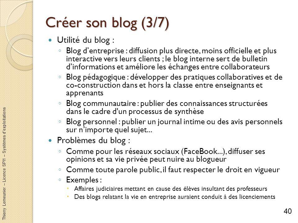 Thierry Lemeunier – Licence SPI1 – Systèmes dexploitations Créer son blog (3/7) Utilité du blog : Blog dentreprise : diffusion plus directe, moins off