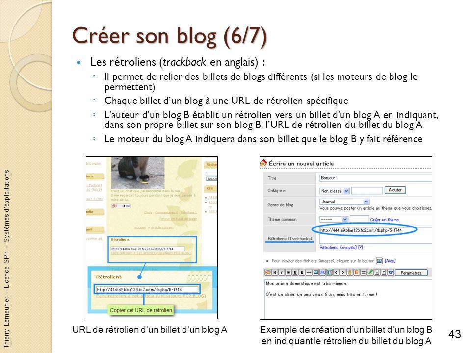 Thierry Lemeunier – Licence SPI1 – Systèmes dexploitations Créer son blog (6/7) Les rétroliens (trackback en anglais) : Il permet de relier des billet