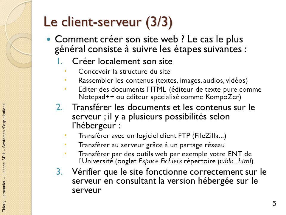Thierry Lemeunier – Licence SPI1 – Systèmes dexploitations Le client-serveur (3/3) Comment créer son site web ? Le cas le plus général consiste à suiv