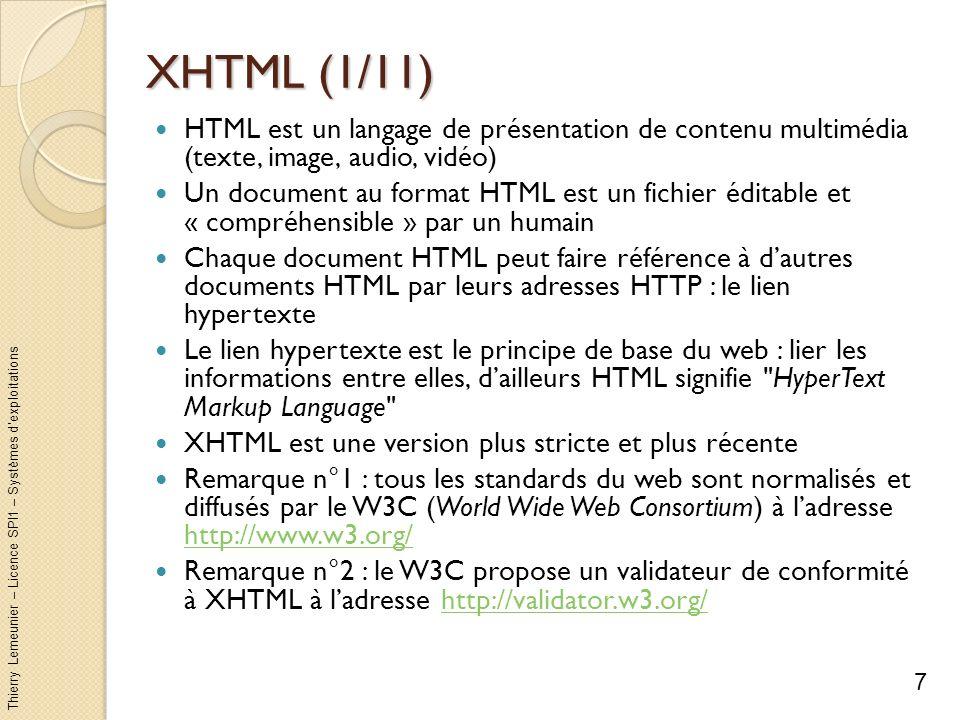 Thierry Lemeunier – Licence SPI1 – Systèmes dexploitations XHTML (1/11) HTML est un langage de présentation de contenu multimédia (texte, image, audio