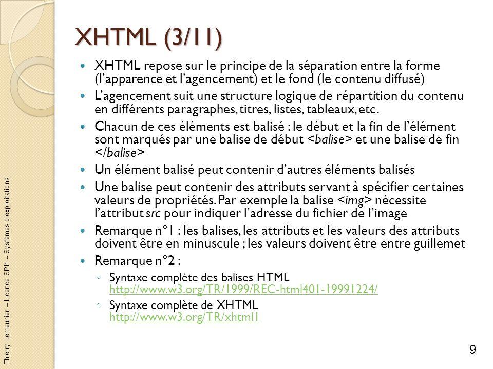 Thierry Lemeunier – Licence SPI1 – Systèmes dexploitations XHTML (4/11) Tout document HTML suit la structure suivante : Lentête du fichier : indique les propriétés dencodage (encoding) et de format du fichier (xhtml1-strict.dtd) Le document lui-même (balises...