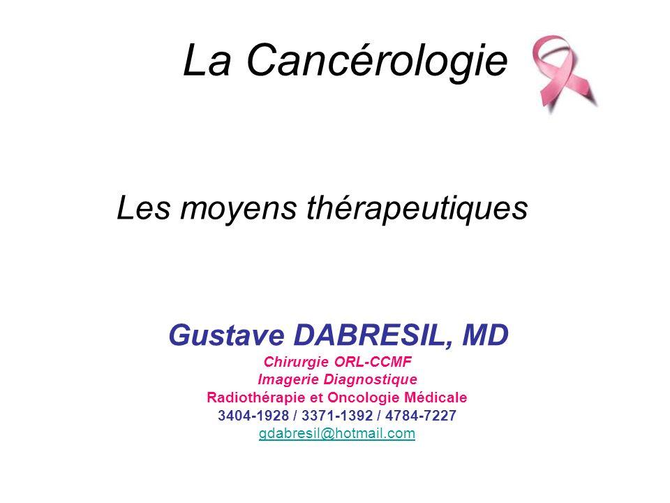 La Cancérologie Gustave DABRESIL, MD Chirurgie ORL-CCMF Imagerie Diagnostique Radiothérapie et Oncologie Médicale 3404-1928 / 3371-1392 / 4784-7227 gd