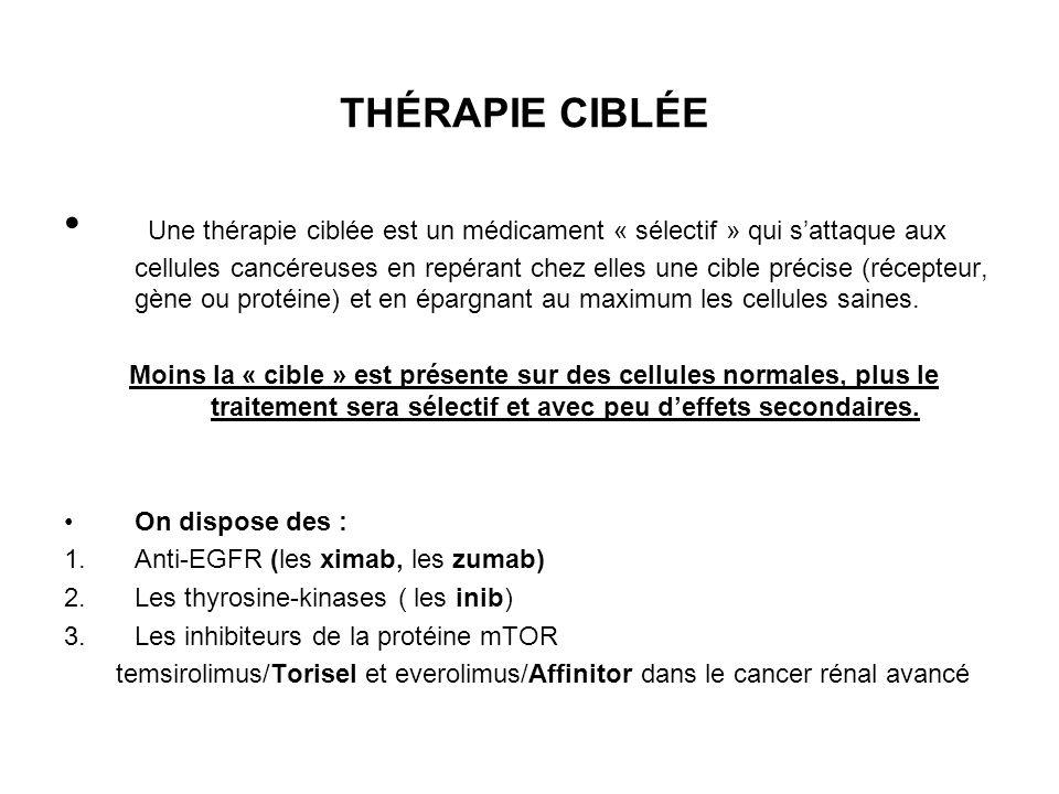 THÉRAPIE CIBLÉE Une thérapie ciblée est un médicament « sélectif » qui sattaque aux cellules cancéreuses en repérant chez elles une cible précise (réc