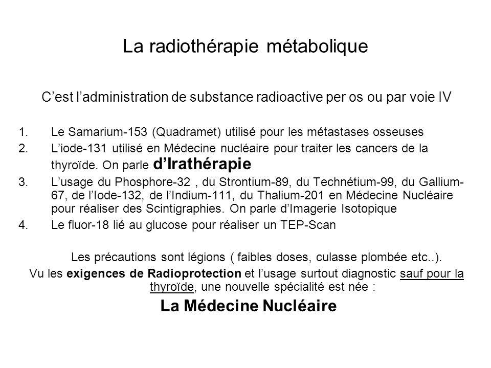 La radiothérapie métabolique Cest ladministration de substance radioactive per os ou par voie IV 1.Le Samarium-153 (Quadramet) utilisé pour les métast