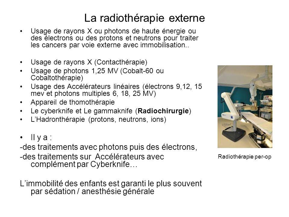 La radiothérapie externe Usage de rayons X ou photons de haute énergie ou des électrons ou des protons et neutrons pour traiter les cancers par voie e