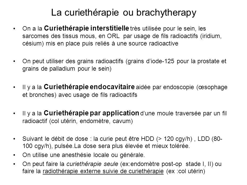 La curiethérapie ou brachytherapy On a la Curiethérapie interstitielle très utilisée pour le sein, les sarcomes des tissus mous, en ORL par usage de f