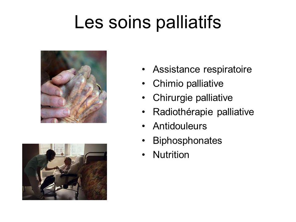 Les soins palliatifs Assistance respiratoire Chimio palliative Chirurgie palliative Radiothérapie palliative Antidouleurs Biphosphonates Nutrition