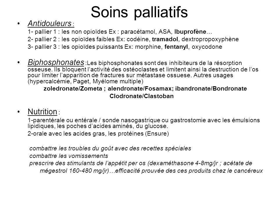 Soins palliatifs Antidouleurs : 1- pallier 1 : les non opioïdes Ex : paracétamol, ASA, Ibuprofène… 2- pallier 2 : les opioïdes faibles Ex: codéine, tr