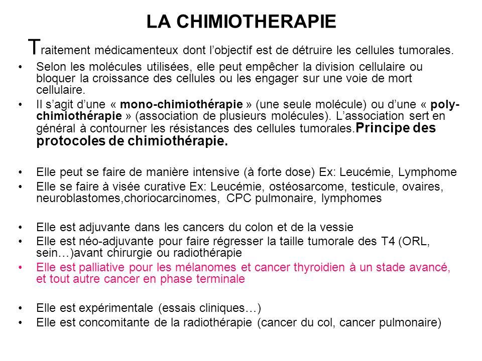 Voie dadministration de la chimiothérapie Par voie veineuse (veine du bras ou voie veineuse centrale avec chambre implantable pour éviter la nécrose par extravasation) Par voie locorégionale : 1.Intralésionnelle (rétinoblastome avec cisplatine local) 2.Intraartérielle( chimio-embolisation hépatique ou chimio par voie portale pour les métastases du foie) 3.intrapéritonéale (carcinose péritonéale des cancers de lovaire) 4.Intraartérielle (cancer des VADS, cancer du cerveau) 5.Intrathécale ou intraventriculaire pour les atteintes méningées en cas de carcinomatose méningée et certaines leucémies Les chimiothérapies se font par cycles ou cures sur intervalles de 7, 15, 21… jours, des doses précises sont recommandées pour limiter la toxicité.