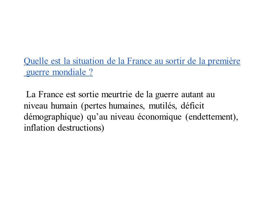 Quelle est la situation de la France au sortir de la première guerre mondiale .