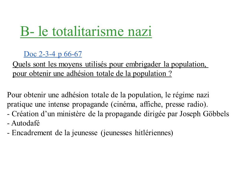 Question Doc 2 p 78 Hitler relance léconomie allemande en menant une politique de grands travaux et en réarmant le pays. Ces mesures permettent la bai