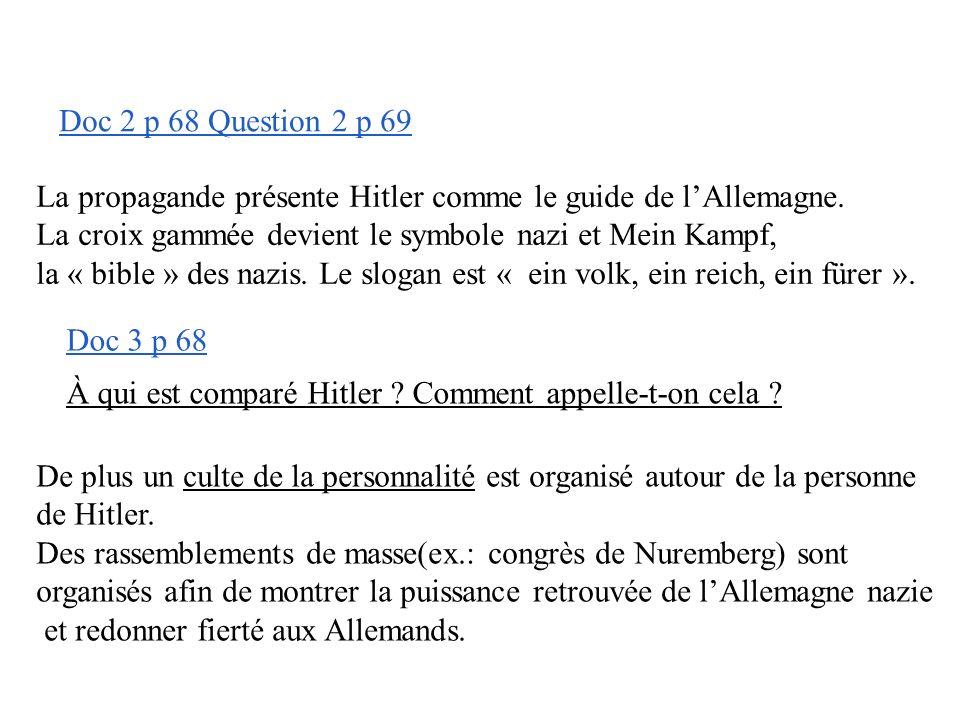 B- le totalitarisme nazi Doc 2-3-4 p 66-67 Quels sont les moyens utilisés pour embrigader la population, pour obtenir une adhésion totale de la popula